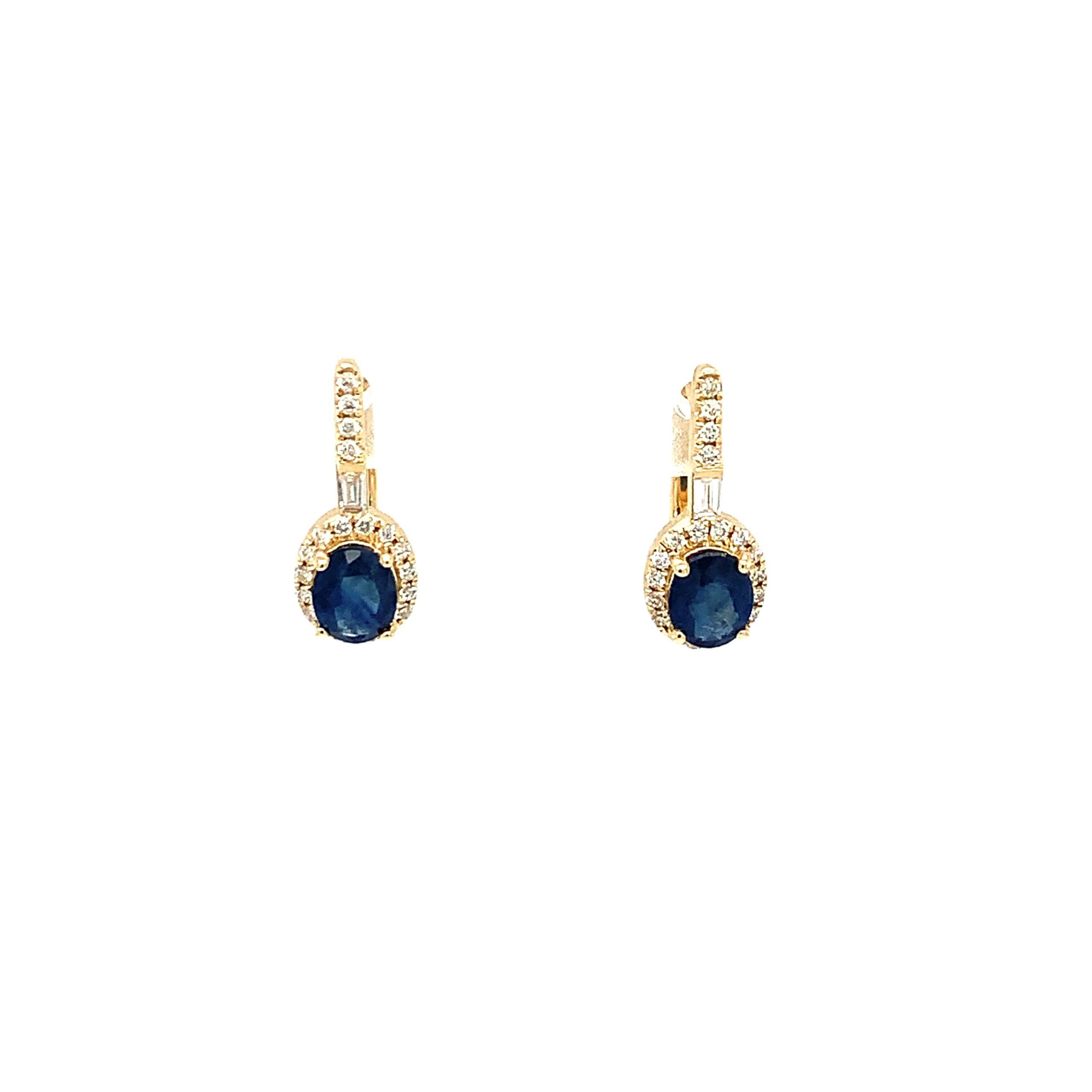 Yellow Gold Sapphire Dangle Earrings