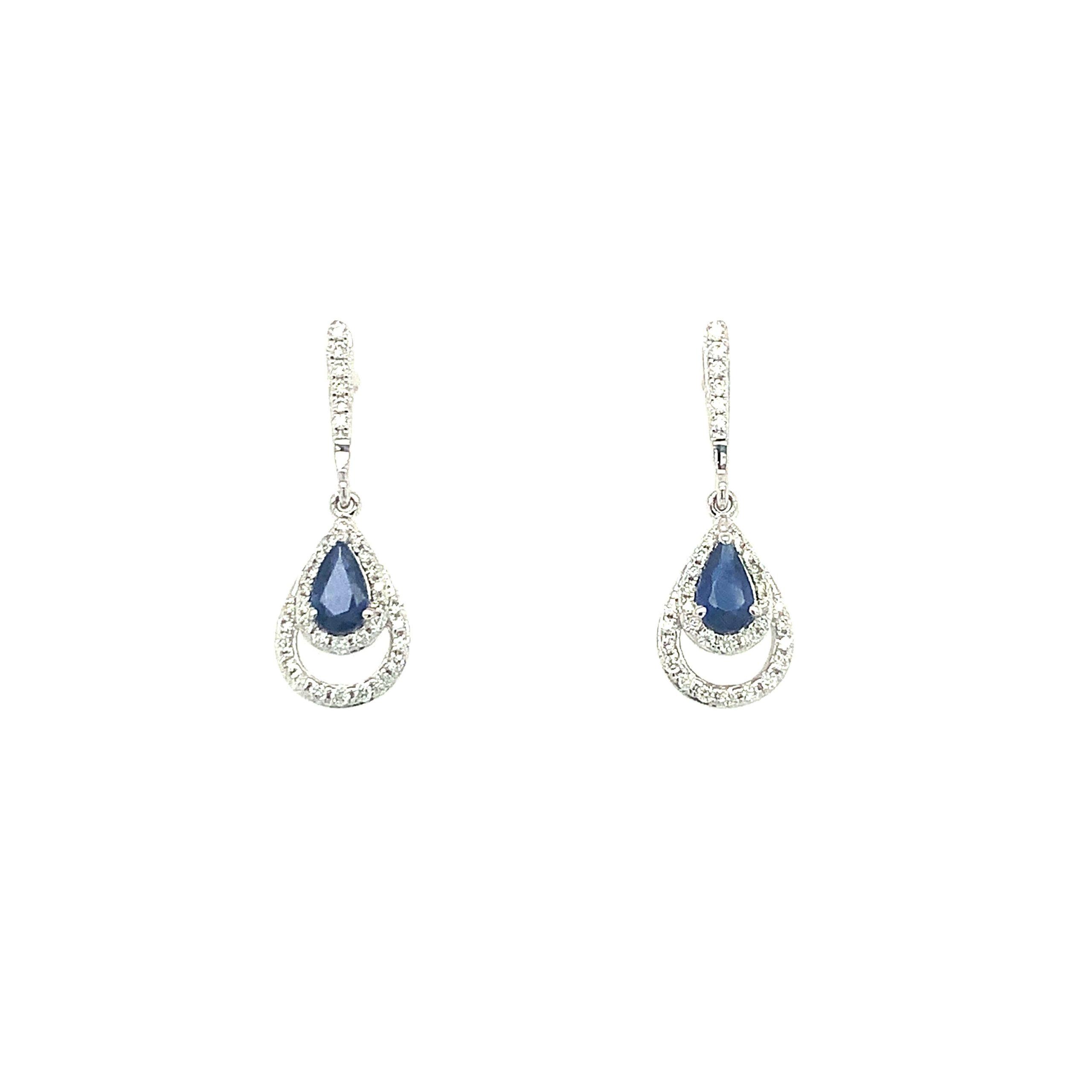 White Gold Sapphire Dangle Earrings