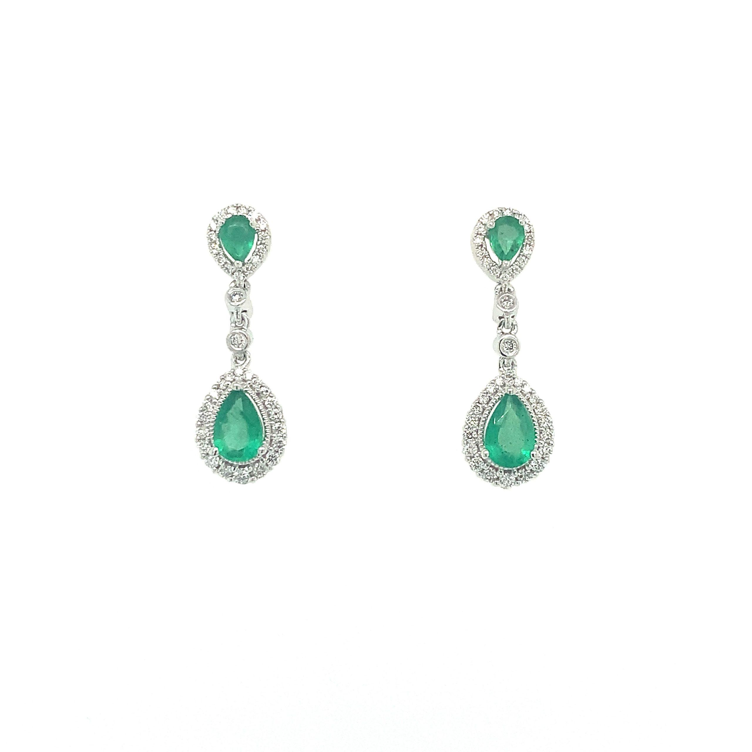 White Gold Emerald Dangle Earrings