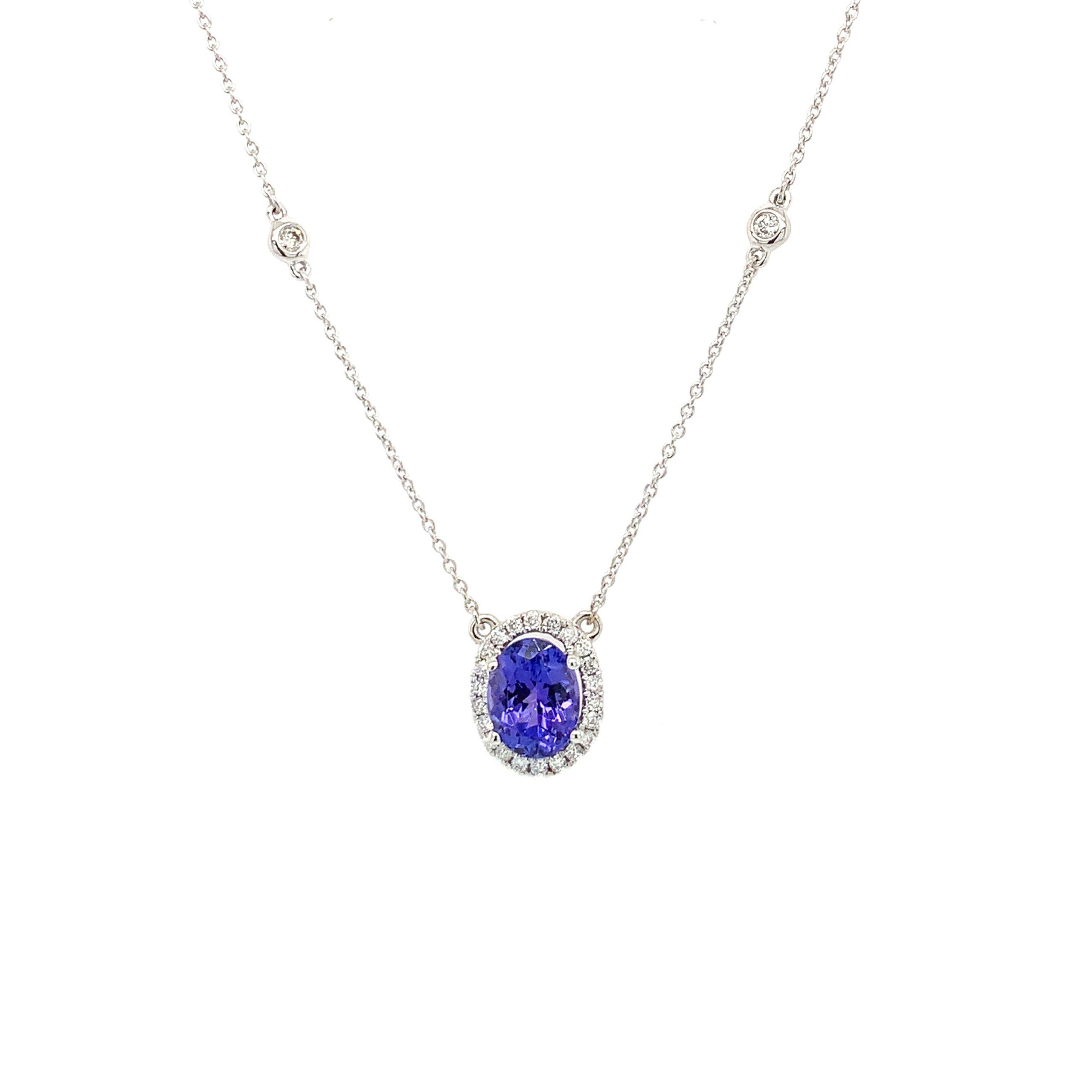 White Gold Tanzanite & Diamond Station Necklace