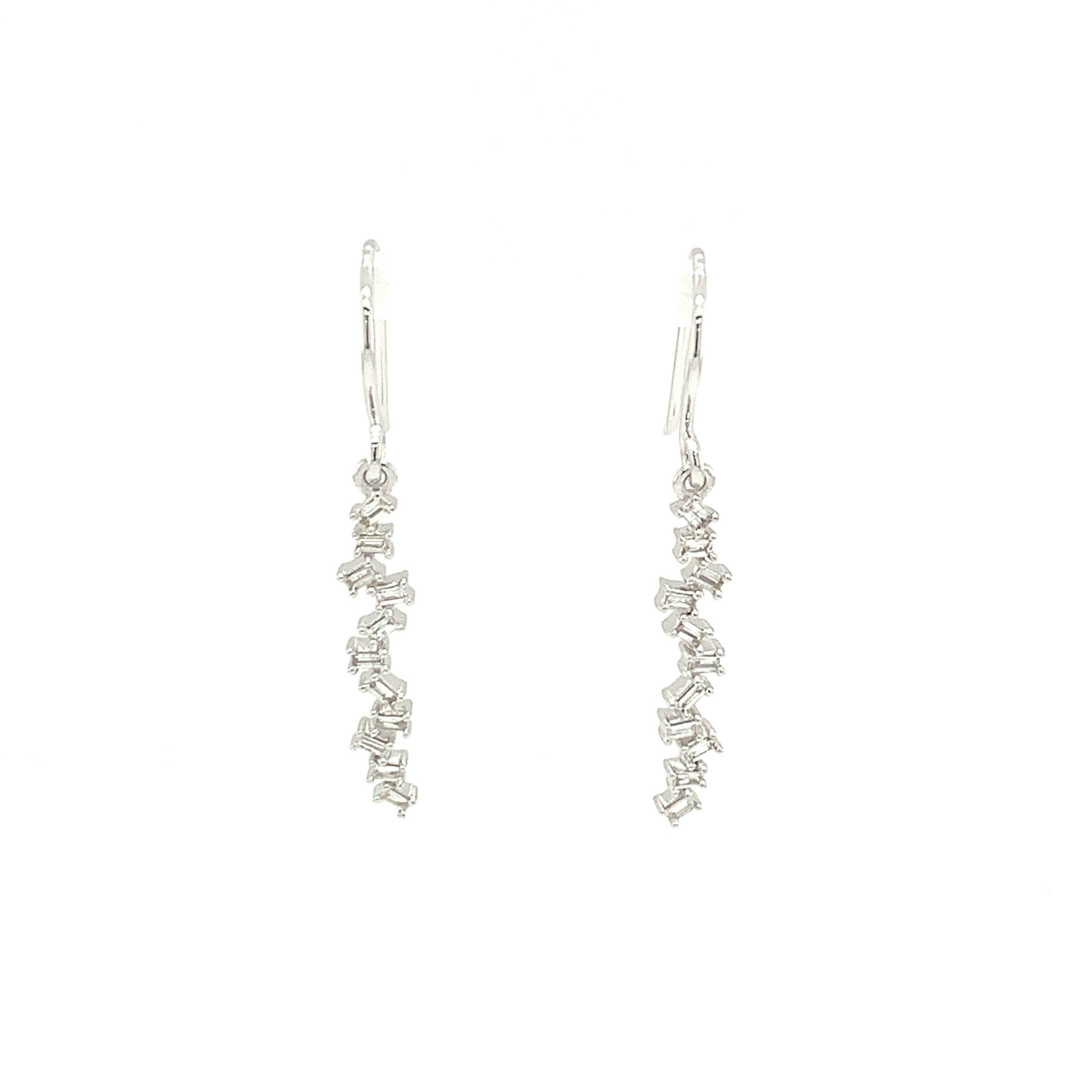 White Gold Dangle Bar Earrings