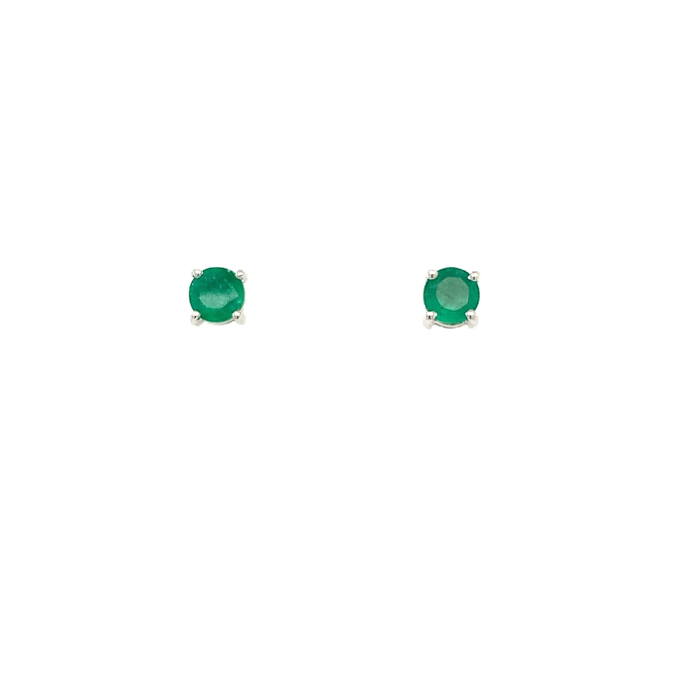 White Gold Emerald Post Earrings
