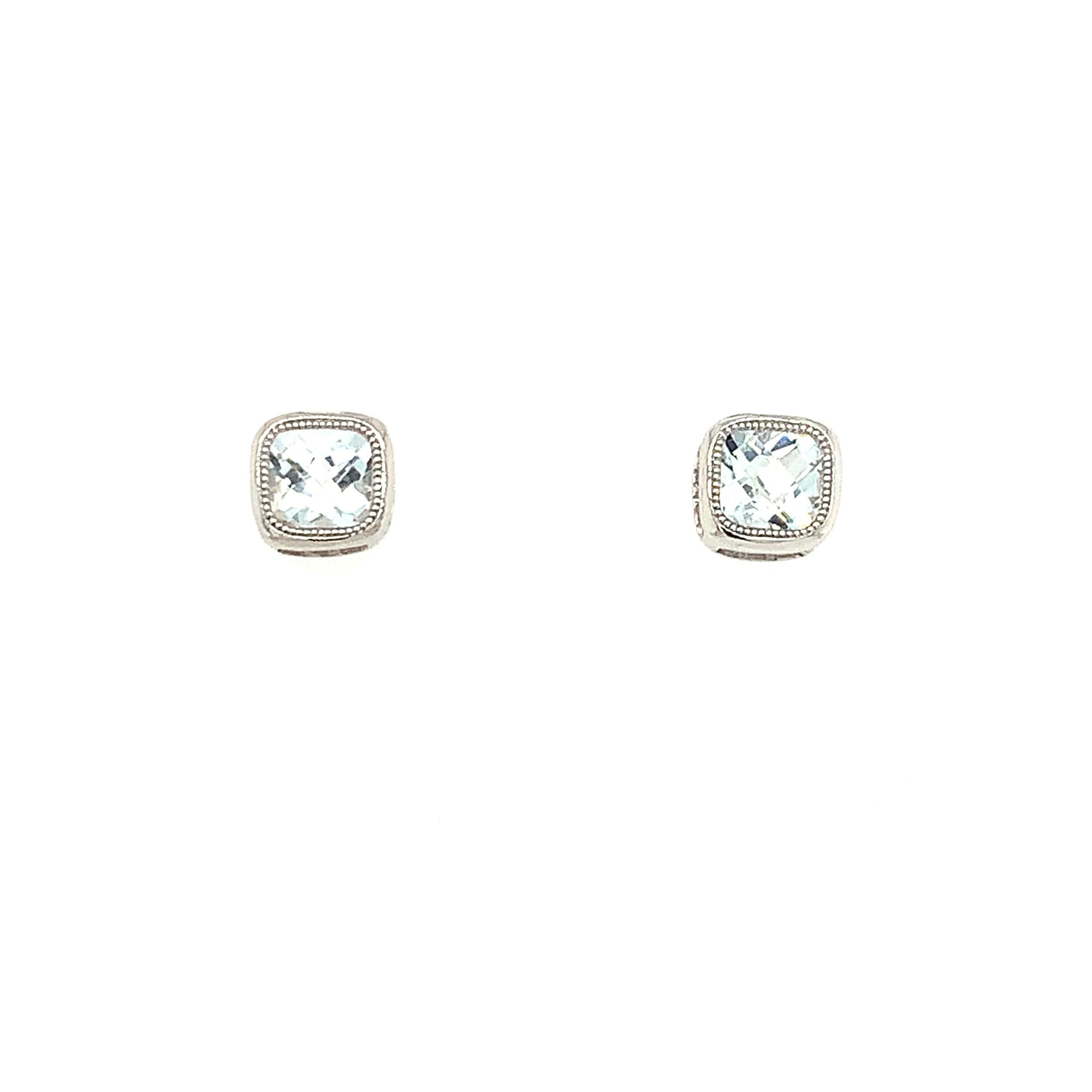 White Gold Aquamarine Earrings