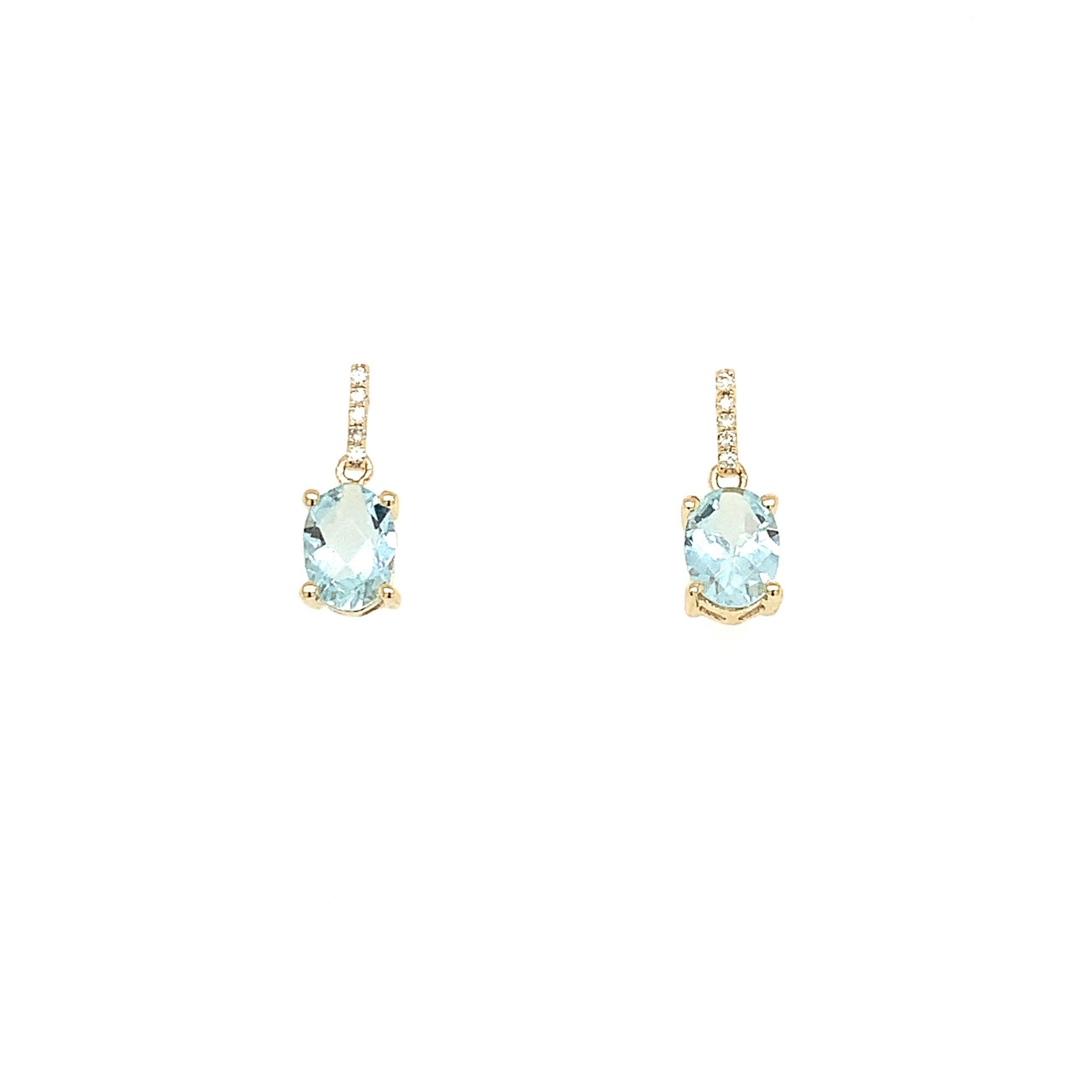 Yellow Gold Aquamarine Earrings