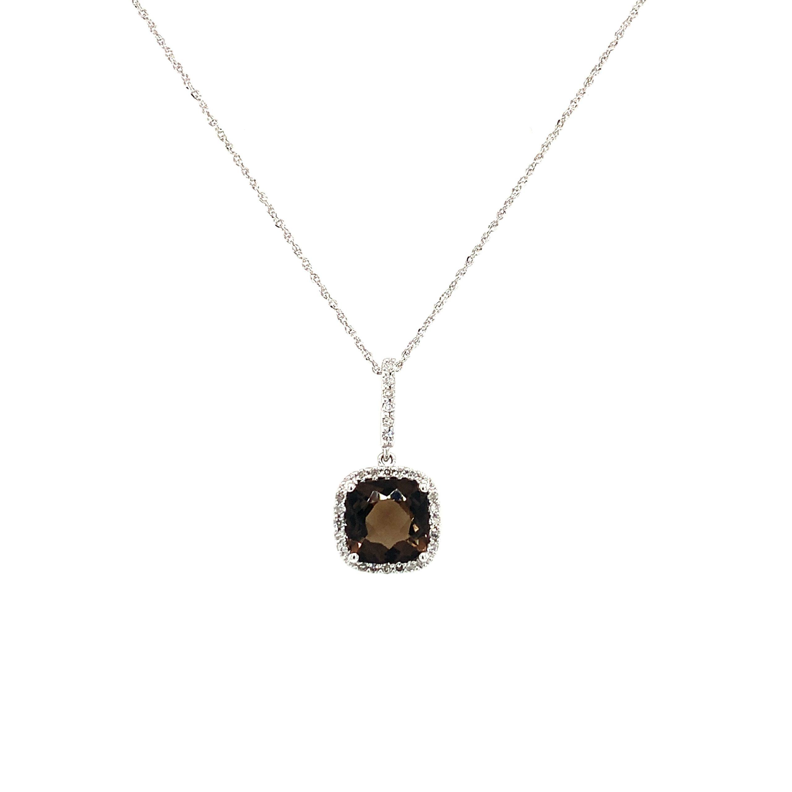 White Gold Smoky Quartz Necklace