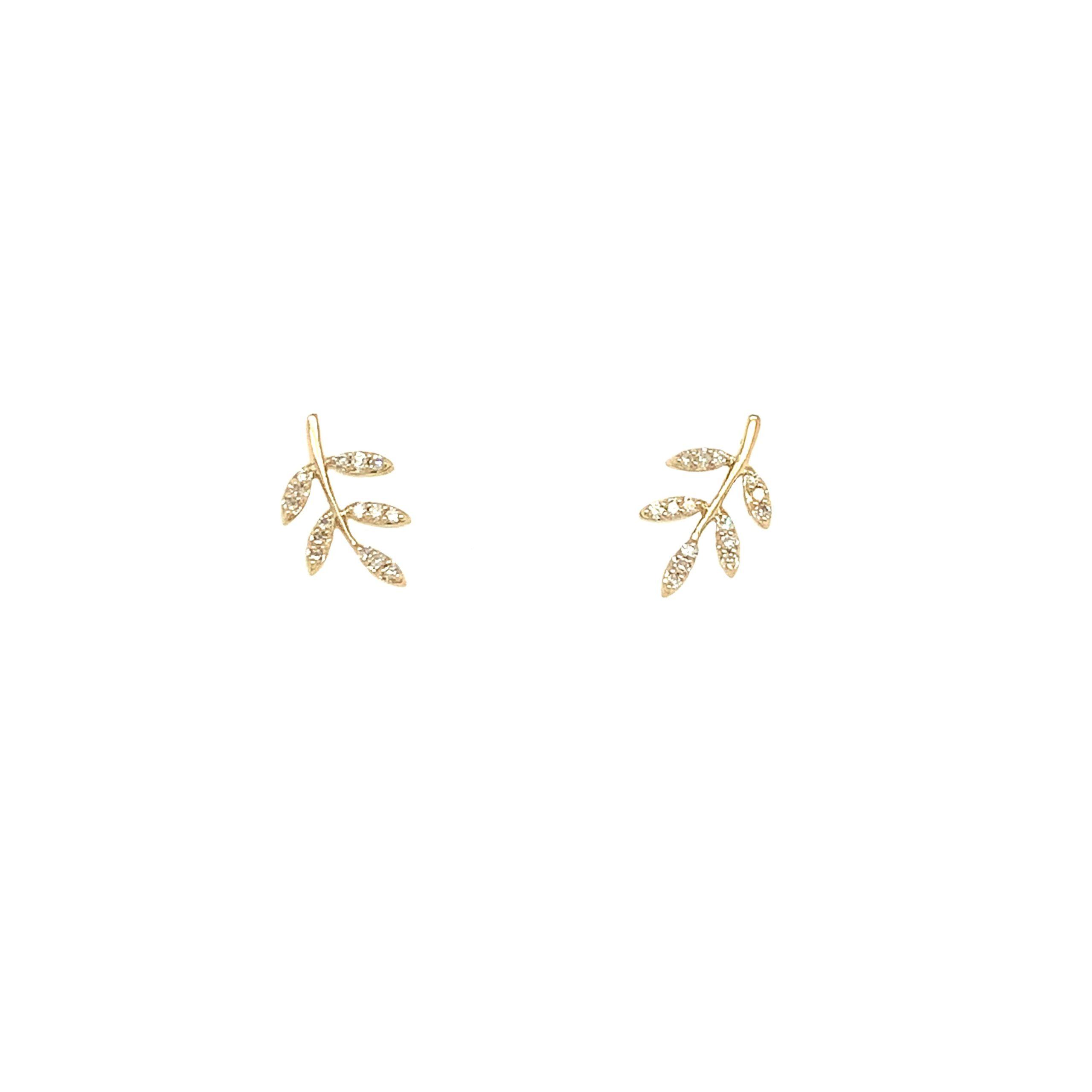 Yellow Gold Diamond Leaf Earrings
