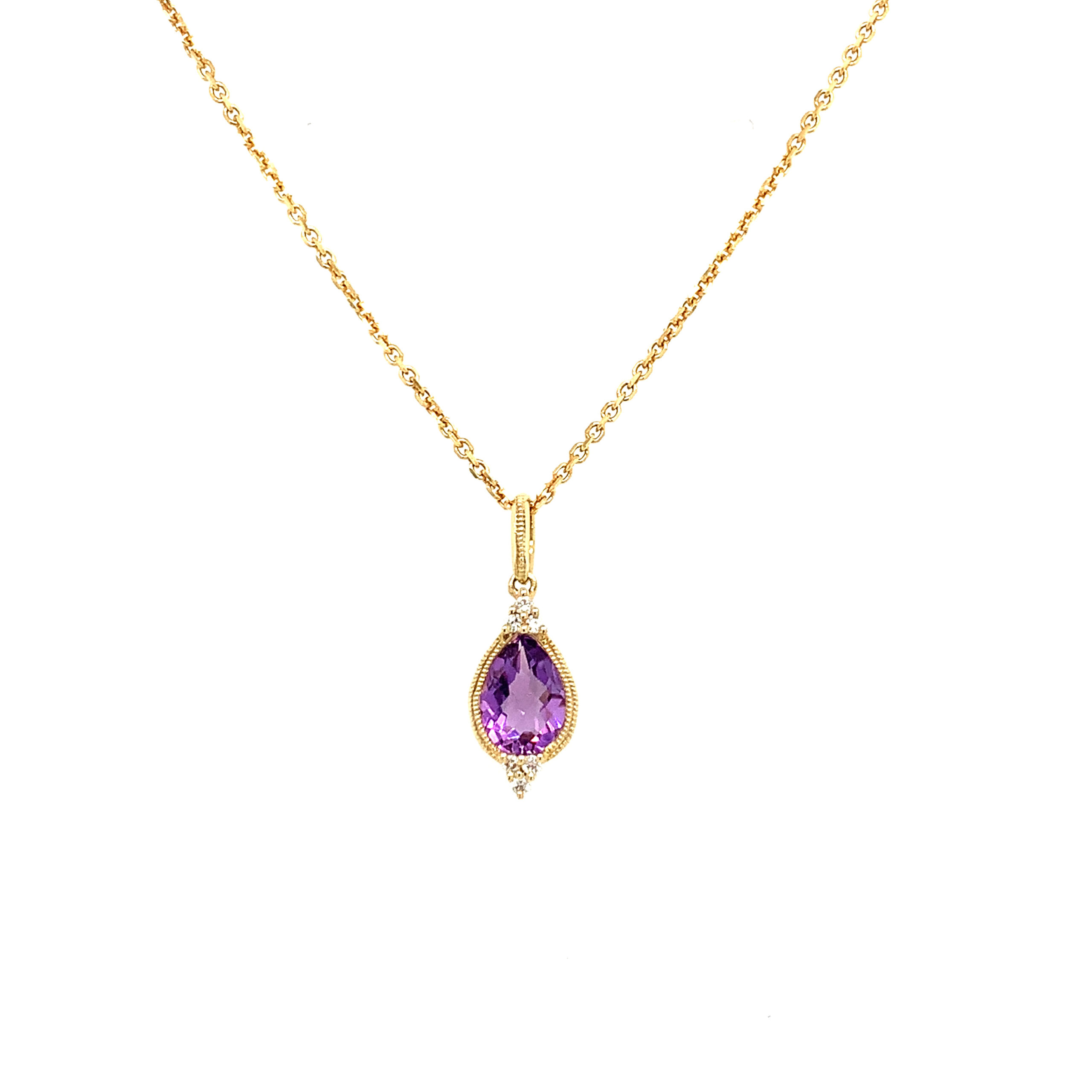 Yellow Gold Amethyst Pendant Necklace