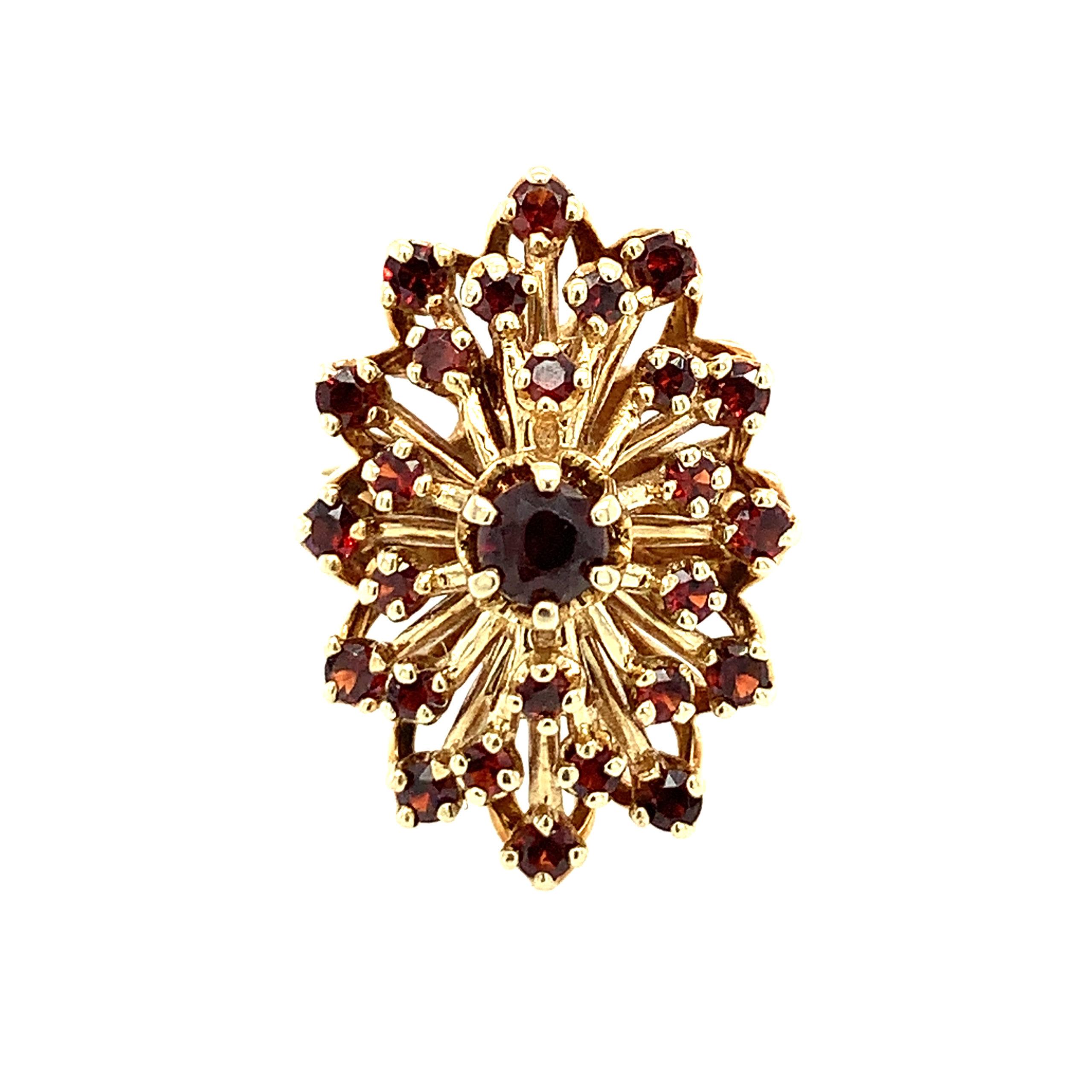 Estate Piece - Yellow Gold Garnet Cluster Ring