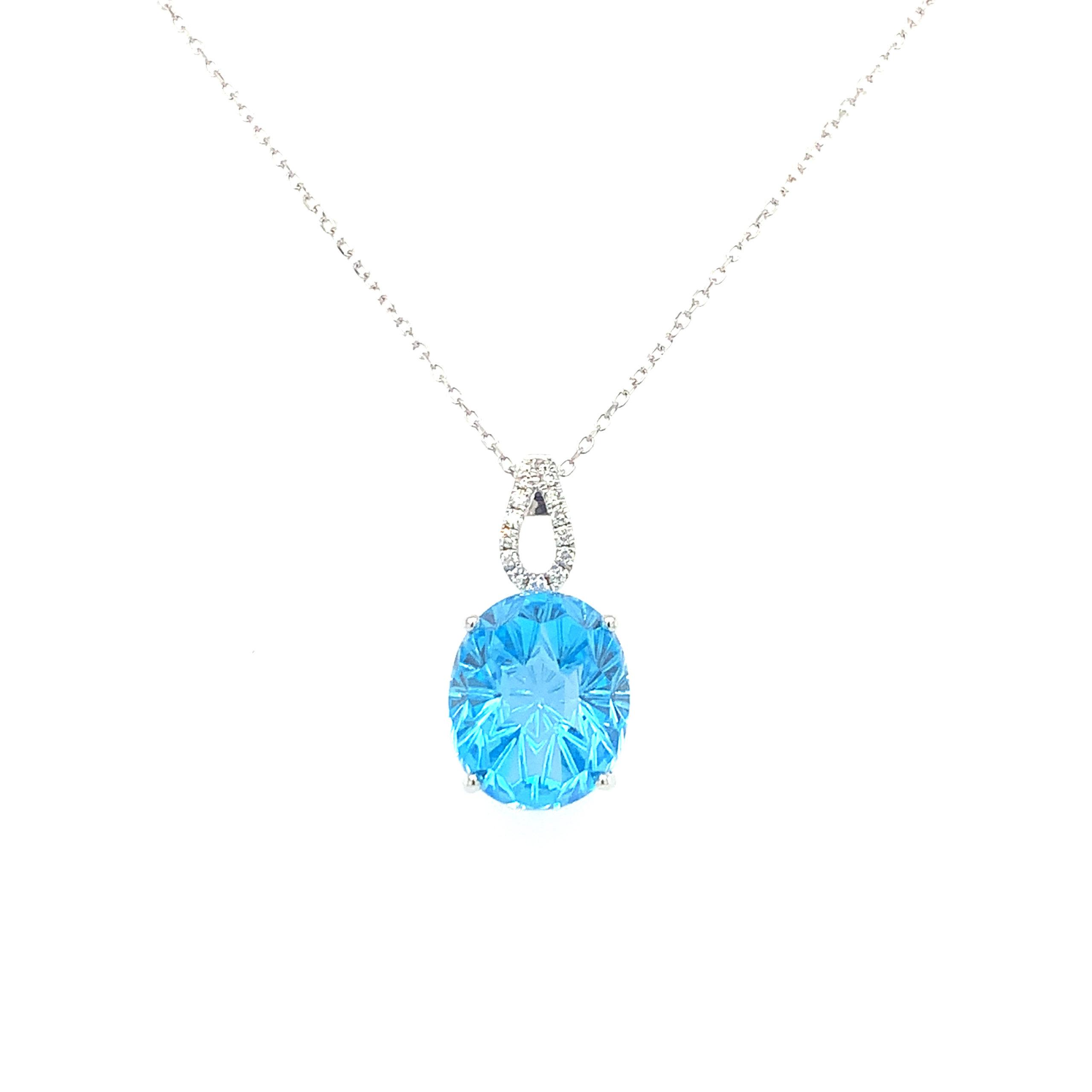 White Gold Blue Topaz Pendant Necklace