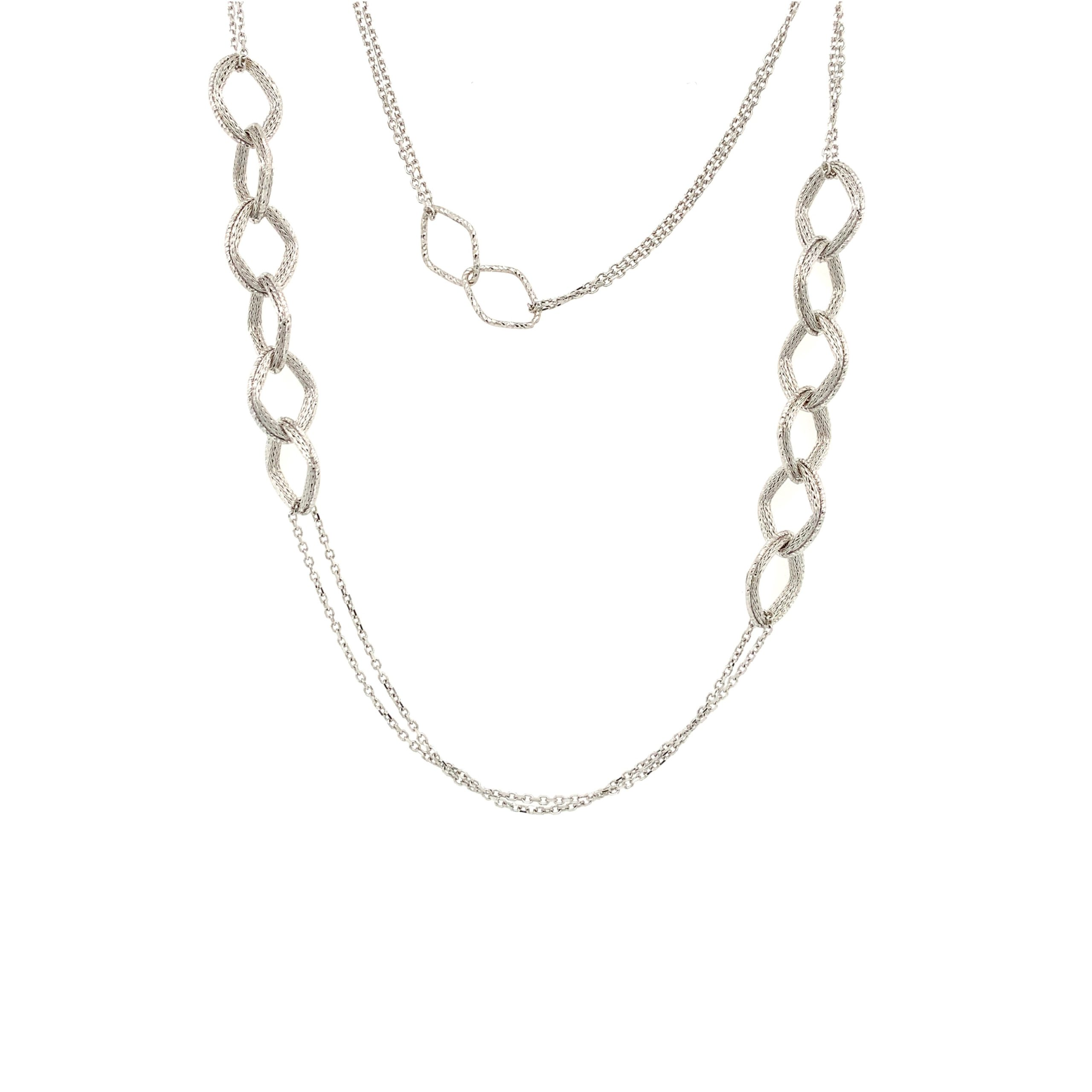 White Gold Textured Necklace