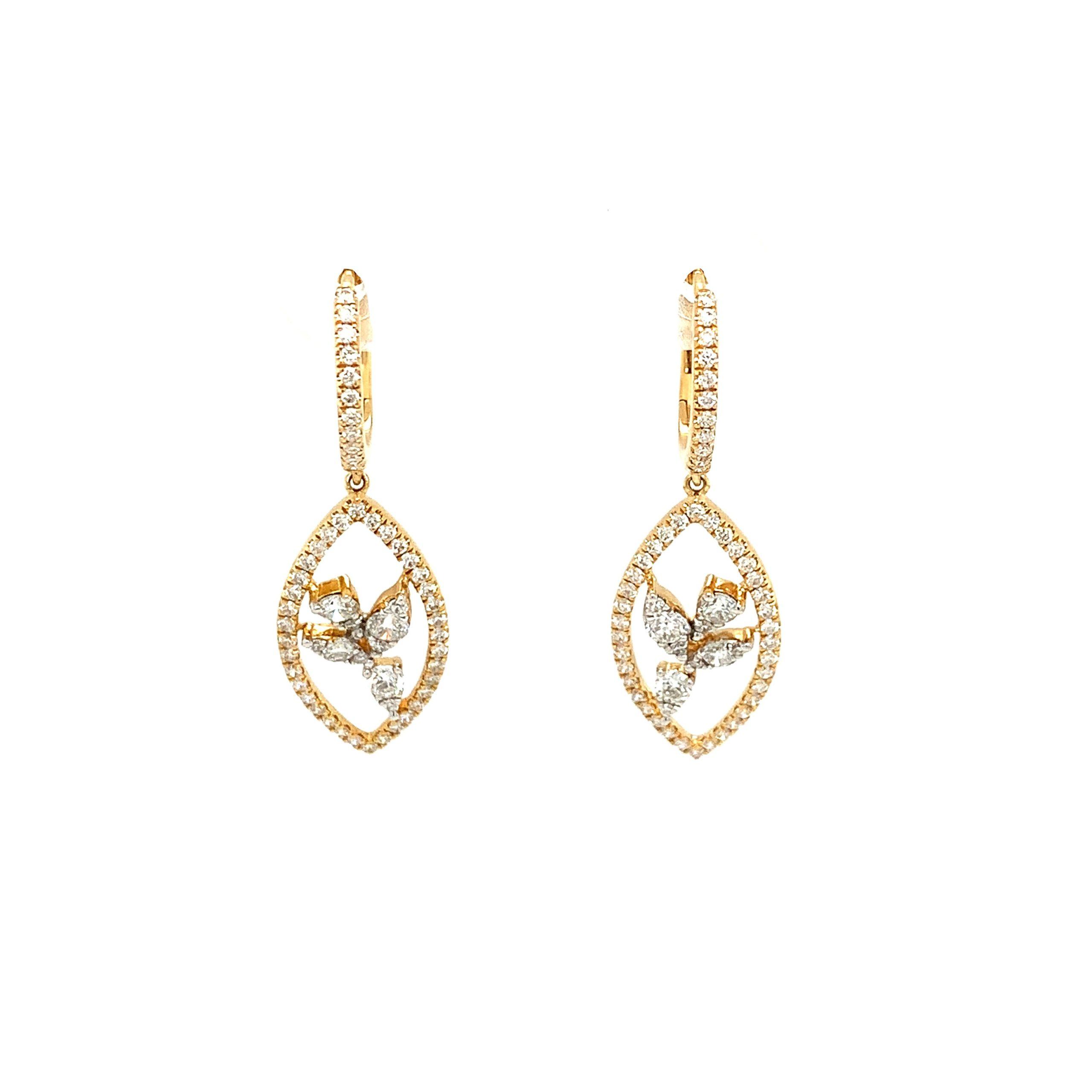 Yellow Gold Diamond Dangle Earrings