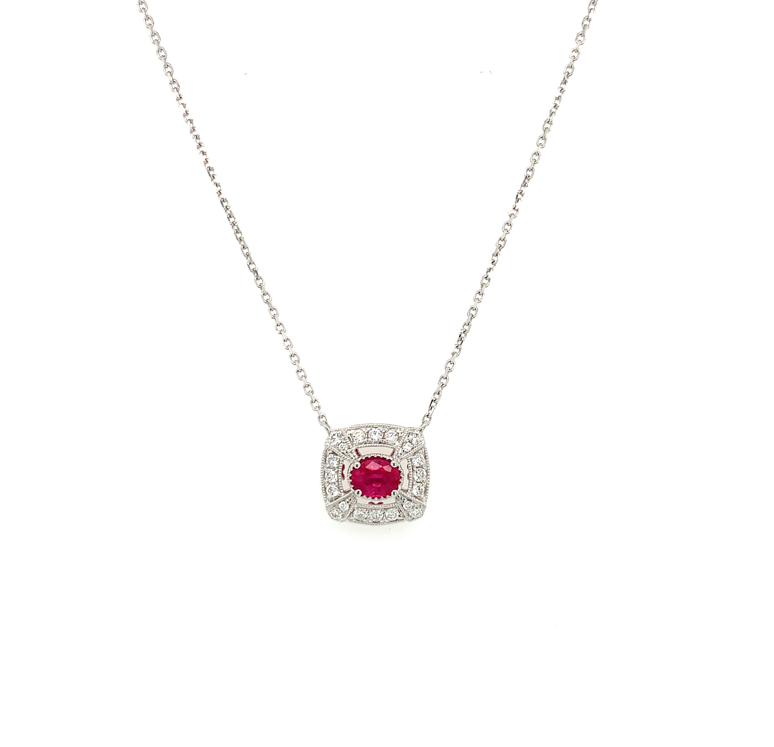 White Gold Ruby Necklace