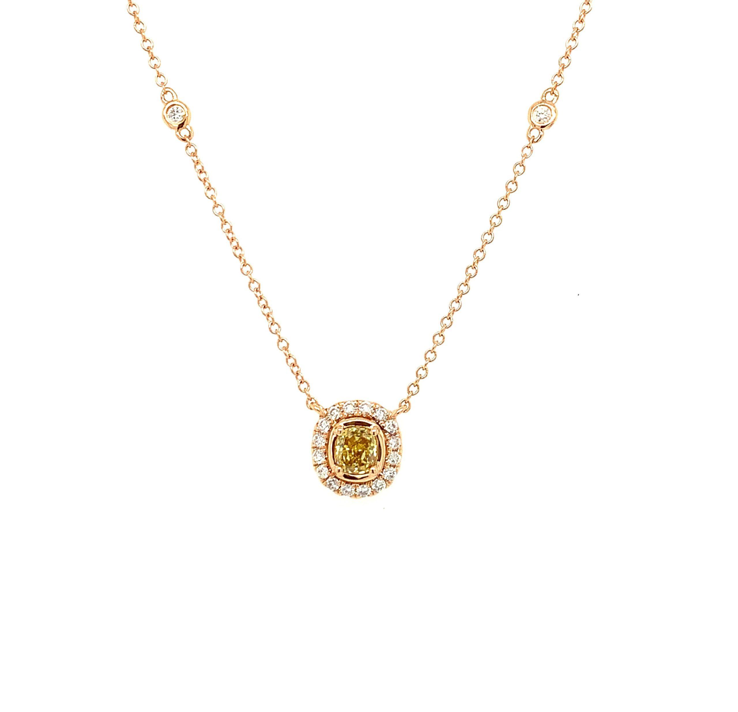 Rose Gold Yellow Diamond Necklace