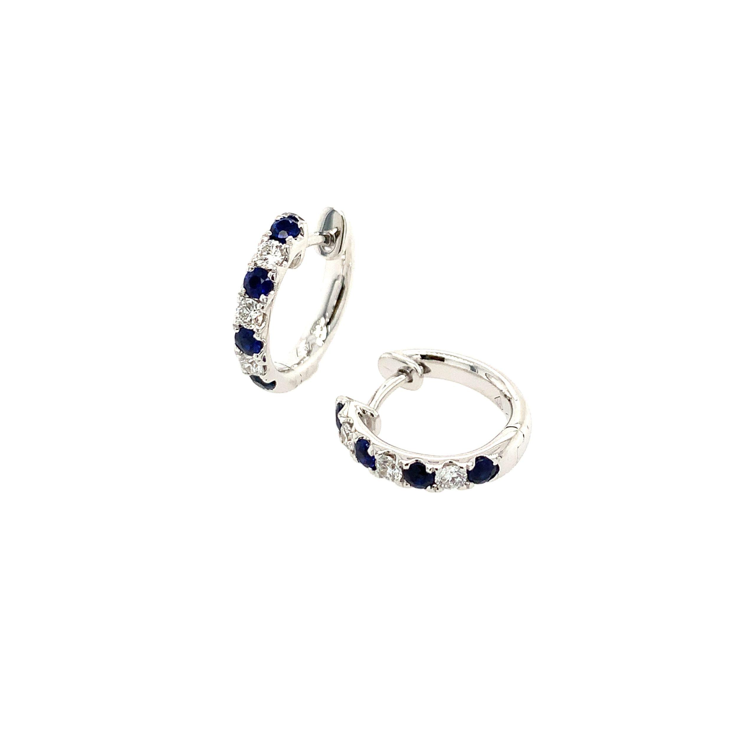 White Gold Sapphire Huggies