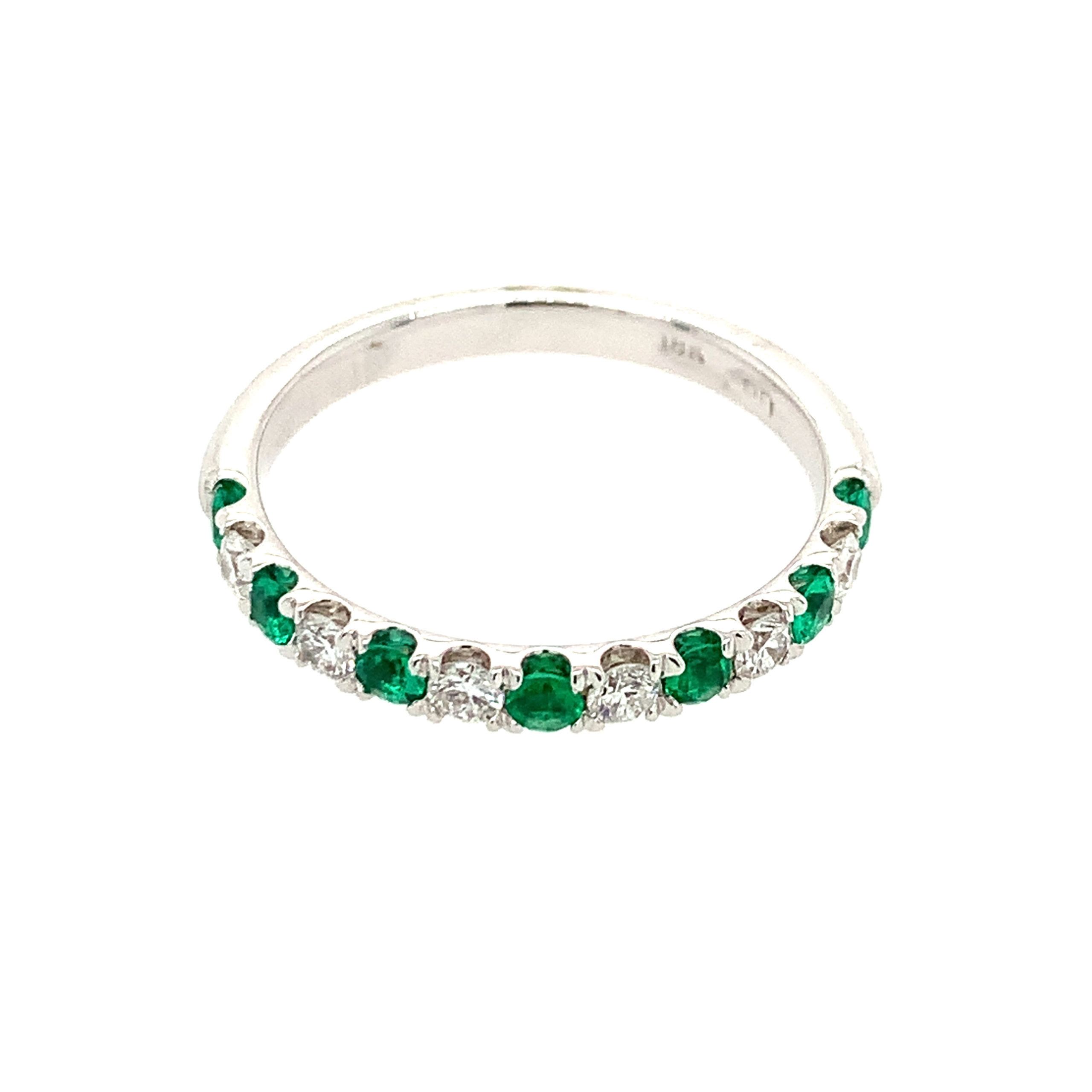 White Gold Emerald Stackable