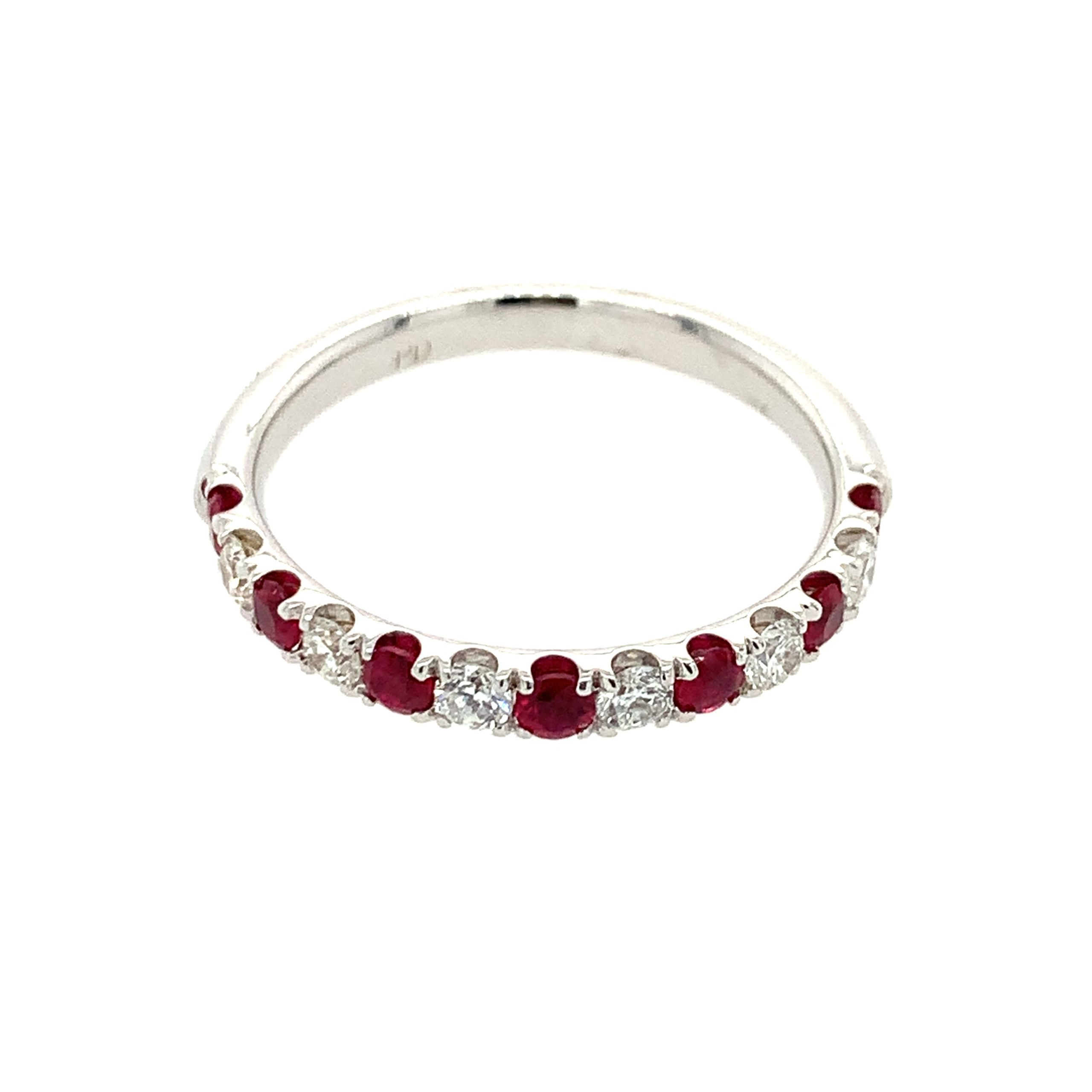 White Gold Ruby Stackable