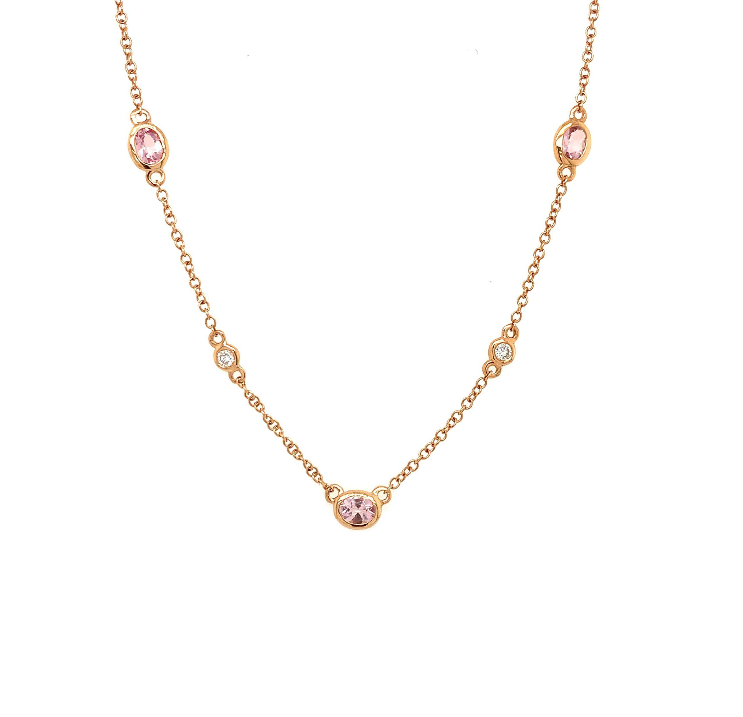 Rose Gold Morganite Station Necklace