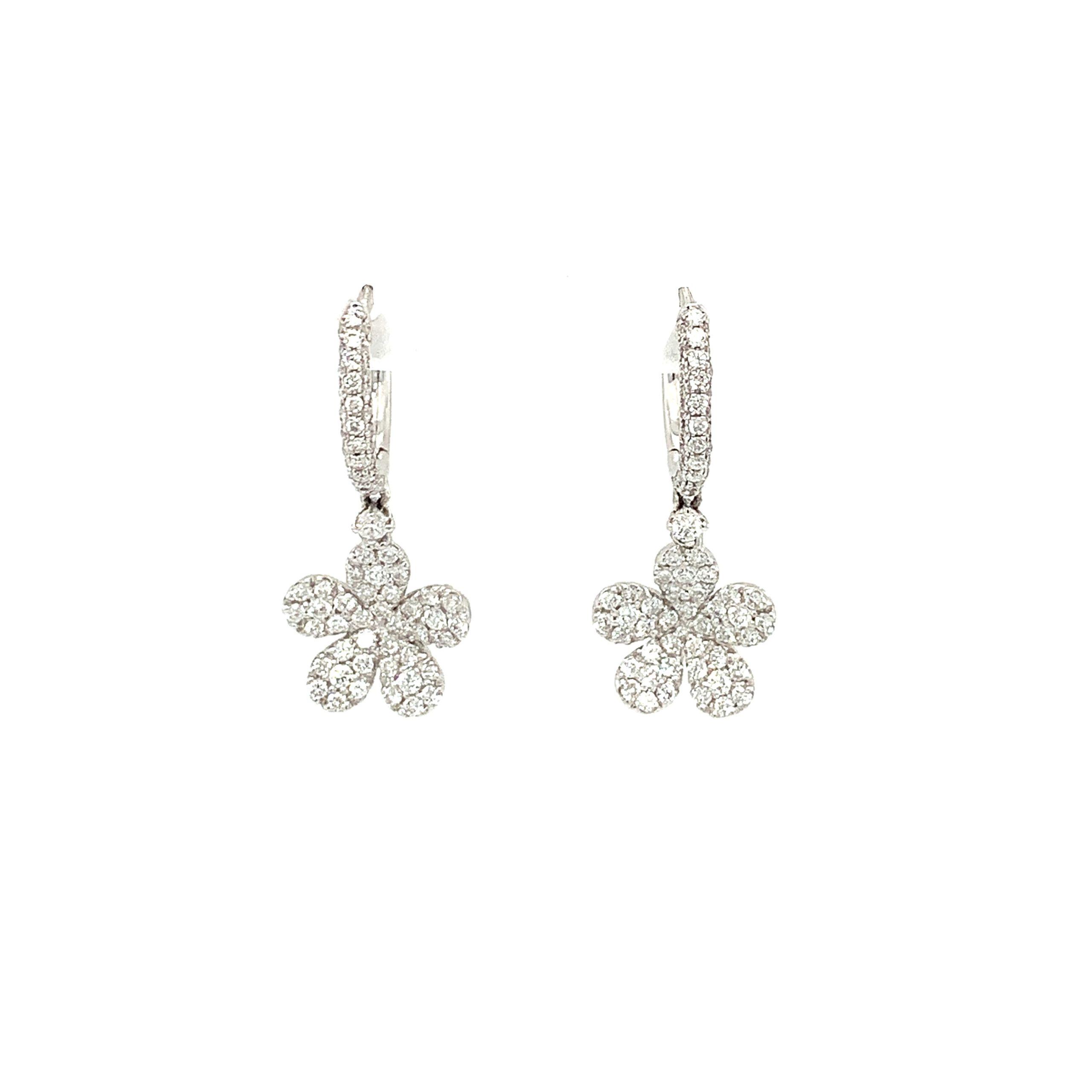 White Gold Diamond Floral Earrings