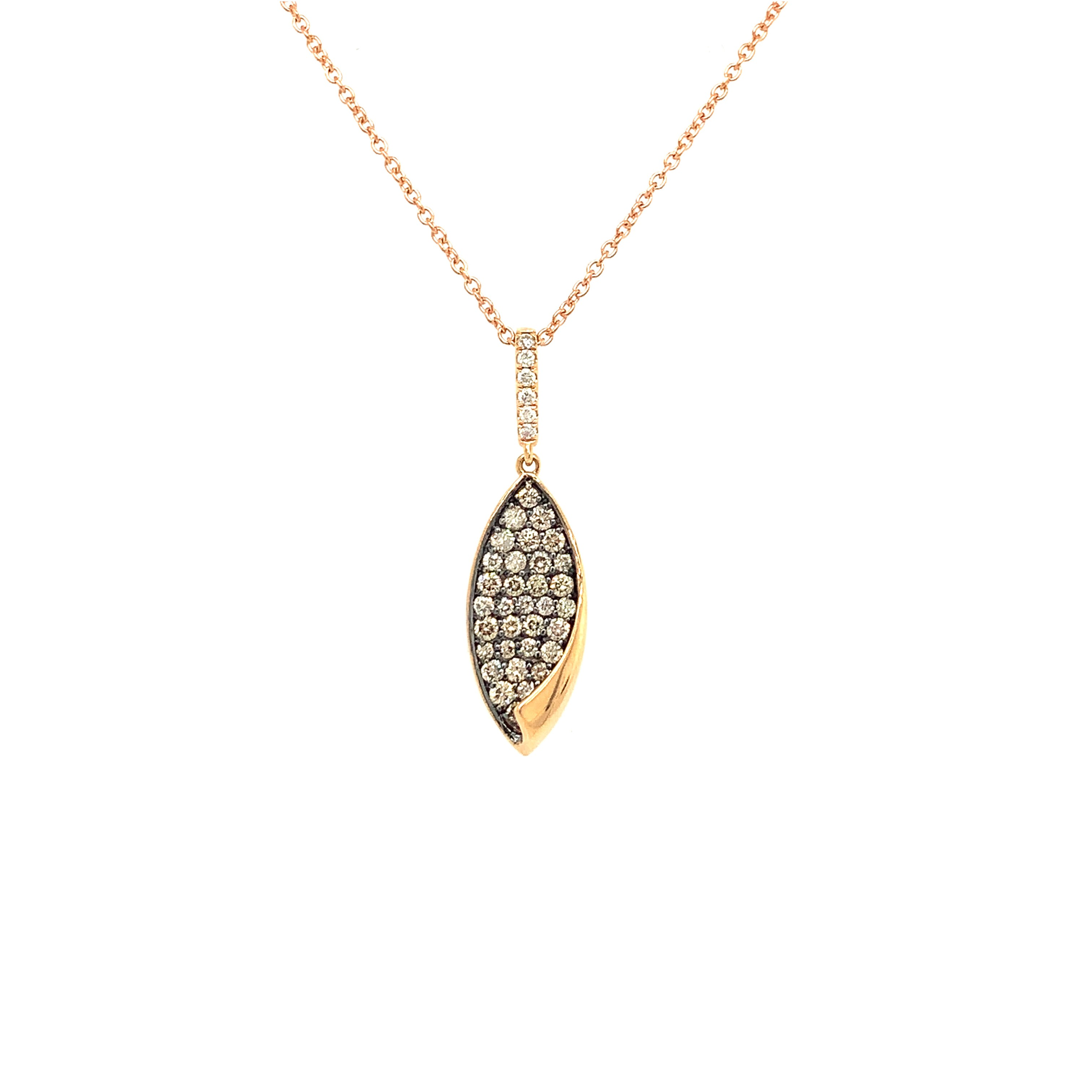 Rose Gold Brown & White Diamond Pendant